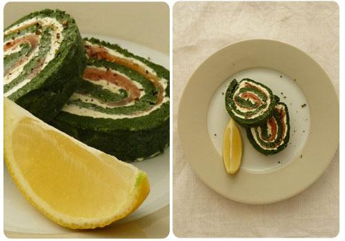 roulé vert épinard et saumon