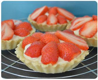 35-Tartelettes aux fraises crème diplomate
