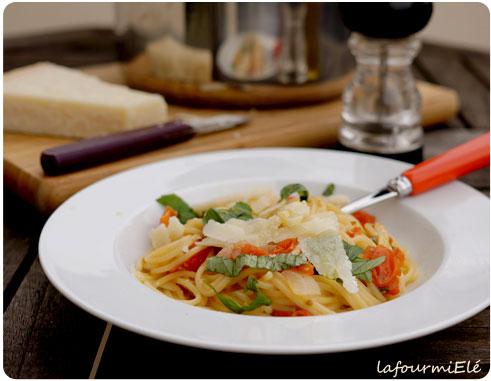 one pan pasta tomate basilic
