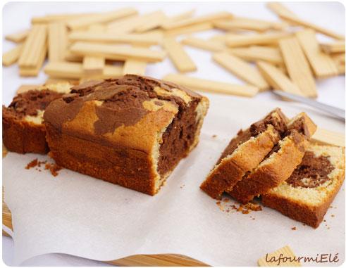 cake marbré à l'amande chocolat et vanille