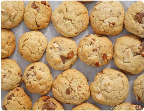 cookies amandes chocolat-blanc et chocolat caramelia