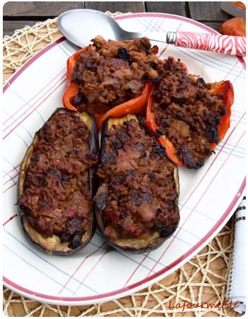 aubergines et poivrons farcis