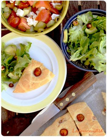 Fougasse lardons et tomates cerises