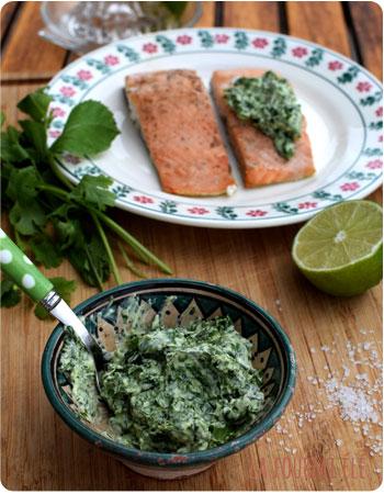 Pavé de saumon et sa purée d'herbes