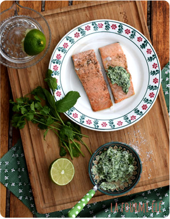 saumon sauce aux herbes