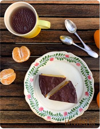 gateau à l'orange et ganache chocolat